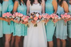 YEP! Bridemaid's choose teal dress and pair with pink colors LOVE this idea...Men gray suits, white shirt and pink tie. Pink roses with white flowers