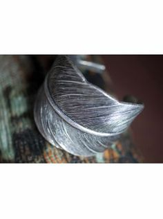 Rachelle antique silver feather cuff