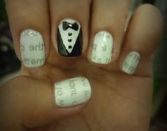 newspaper nails with tux accent...