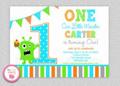 Monster Birthday Invitation  Monster 1st by TheTrendyButterfly