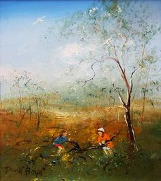 Featuring work by David Boyd - Children Gathering Firewood available at Anthea Polson Art on the Gold Coast Australia, specialising in contemporary Australian art and sculpture