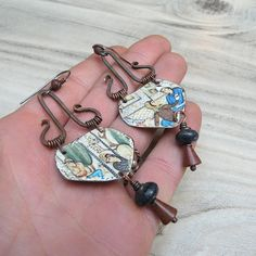 Persian Afternoon  Recycled Tin Earrings with Hammered