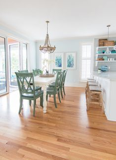 Blue and White Coastal Dining Room - TopSail paint by Sherwin Williams, white dining table and aqua dining chairs with a wood bead chandelier.