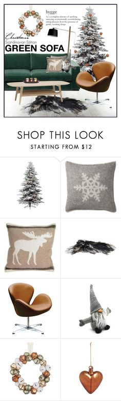 """Green Sofa - Scandi Christmas version"" by szaboesz ❤ liked on Polyvore featuring interior, interiors, interior design, home, home decor, interior decorating, Harrods, BoConcept, Toast and Autrement Dit"