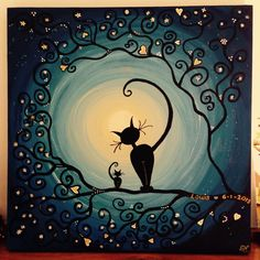 Afbeeldingsresultaat voor positivo y negativo arte con gatos Fantasy Kunst, Fantasy Art, Moon Art, Cat Drawing, Art Plastique, Crazy Cats, Cat Art, Painted Rocks, Art Projects