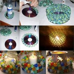 Look at this site. All about how to use old CD's for awesome new stuff. This one is a DIY-Glass-Marble-Candle-Holder Decor Crafts, Easy Crafts, Diy Home Decor, Diy And Crafts, Picture Wreath, Diy 2019, Marble Candle, Glass Candle, Diy Y Manualidades
