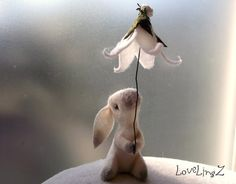 White felt bunny with flower umbrella enchanted by LoveLingZ