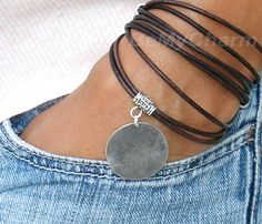 Leather Jewelry, Leather Cord, Leather Bracelets, Jewelry Bracelets, Jewelery, Handcrafted Jewelry, Antique Silver, Jewelry Making, Triple Wrap