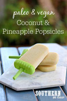 Easy Paleo Vegan Coconut and Pineapple Popsicles Recipe - gluten free, vegan, healthy, paleo, sugar free, healthy dessert recipes