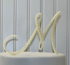 Pearl Monogram Wedding Cake Topper Decorated with a Line of Pearls in Any Letter A B C D E F G H I J K L M N O P Q R S T U V W X Y Z