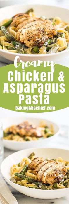 easy Creamy Chicken and Asparagus Pasta is quick and simple to make and perfect for nights when you need a cheesy pasta fix!This easy Creamy Chicken and Asparagus Pasta is quick and simple to make and perfect for nights when you need a cheesy pasta fix! Healthy Dinners For Two, Healthy Pastas, Healthy Dinner Recipes, Cooking Recipes, Simple Meals For Two, Healthy Cooking, Food Recipes Summer, Pasta Recipes For Dinner, Cheap Meals For Two