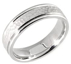 White Gold Hammered Wedding Band Ring by TemptingJewels on Etsy