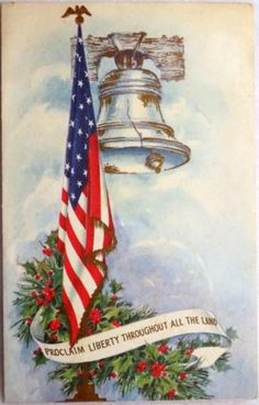 Vintage (1950s) patriotic Christmas card with the Liberty Bell and an American Flag.