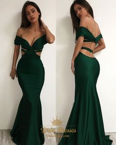 lindadress.com Offers High Quality Dark Green Elegant Mermaid Off The Shoulder Cut Out Waist Prom Dress,Priced At Only USD $130.00 (Free Shipping)