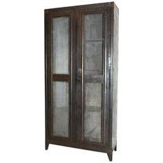 20th Century Black Metal Cabinet, Mesh Doors 'Bauche'
