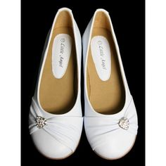 White Childrens Flat Shoes w/ Rhinestone Heart ($23) ❤ liked on Polyvore featuring shoes, flat heel shoes, white shoes, flat pumps, flat shoes and white flats