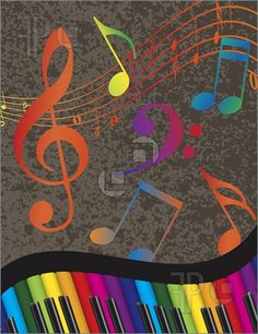 Illustration of Wavy Abstract Piano Keyboard with Rainbow Colors Keys and Musical Notes Textured Background Illustration