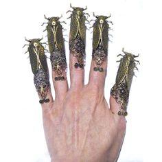 5 Steampunk Gothic Filigree Gold Brass Cicada Nail by tempusfugit