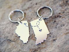 CUSTOM Long Distance Love KEYCHAINS Best Friend Gift- Set of TWO State Maps (Indiana Keychain Illinois Keychain)