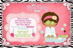 Printable Spa Party Invitation | spas-002 Customized Printable Spa/slumber party Birthday Invitation