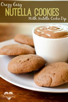 These crazy easy nutella cookies are super-soft, use only a few ingredients and come with a creamy, easy nutella cheesecake dip. Perfect for holiday parties! www.pintsizedtreasures.com