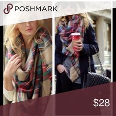 Chunky Knit Beautiful tartan plaid blanket scarf Best selling style restocked beige Combo tartan plaid blanket scarf . So many ways to wear this beauty . Nwot . Super soft 100% acrylic. Vivacouture Accessories Scarves & Wraps