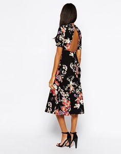 Enlarge Glamorous Tall High Neck Floral Print Midi Skater Dress