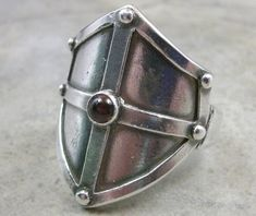 Medieval Shield Fine Silver Ring- Renaissance Jewelry- Medieval Shield RIng- Stone Ring- Medieval Jewellery- Cabochon Ring- Ren Faire Garb. $171.00, via Etsy.
