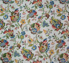 vintage 1940s pure cotton barkcloth Jacobean floral fabric