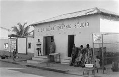 """antanlontan:   Ever Young Graphic Studio, Jamestown, Ghana, 1953 by James Barnor 'Ever Young' studio in Accra, Ghana, operated by James Barnor between 1953 – 1959. Visited by civil servants and dignitaries, performance artists and newly-weds, 'Ever Young' served as a social hub and community centre where, in the artist's own words, """"young and old met and discussed everything from politics to music and the latest fashion styles"""". Part of a long tradition of studio photography in Africa, this…"""