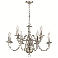 Hampton Bay, Woodford Collection 12-Light Hanging Brushed Nickel Chandelier, ES0489BN at The Home Depot - Tablet