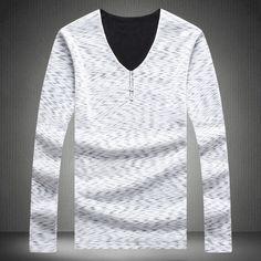 2016 hot fashion Korean fashion men's V-neck long-sleeved sweater solid color Slim