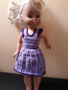 Nancy - vestido morado con dibujo de línea Crochet Barbie Clothes, Barbie And Ken, Diy And Crafts, Summer Dresses, Patterns, Medium, Vintage, Style, Fashion