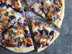 Blueberry Pizza with Whipped Ricotta + Caramelized Shallots I howsweeteats.com
