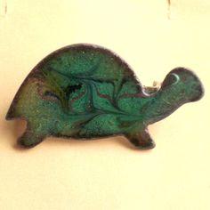 enamel brooch - green tortoise £7.50