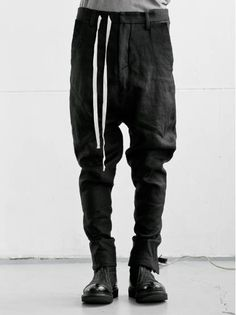 MEN CATEGORY :: CLOTH :: TROUSERS :: A New Cross Drop crotch one piece pants / BLACK