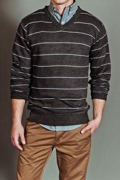 Stripe V-Neck Sweater Charcoal