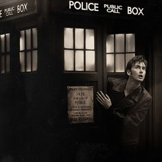 Stepping out of the TARDIS. Still in 9's jacket. Awww.