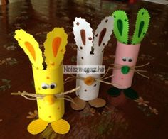 Húsvéti nyuszi papírgurigából Easter Crafts, Coloring Pages, Kindergarten, Planter Pots, Arts And Crafts, Kids, Google, Bunnies, Creative
