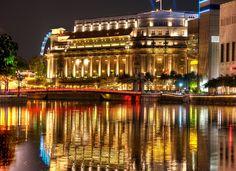 Singapore Houses Rivers Night Street lights Cities