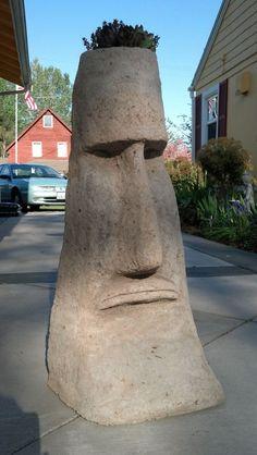 Tiki - Moai, Easter Island Outdoor Hypertufa Sculpture Art by Snohomish artist Carrie Milburn Cement Art, Concrete Art, Concrete Garden, Concrete Sculpture, Outdoor Sculpture, Outdoor Art, Concrete Crafts, Concrete Projects, Paper Mache Sculpture