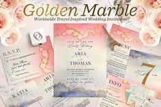 Wedding Suite XII - Golden Marble I The Wedding Shop Templates Cards and Invites Wedding Invitation Templates, Wedding Invitations, Invites, Wedding Templates, Wedding Koozies, Invitation Design, Wedding Stationery, Invitation Cards, Wedding Cards
