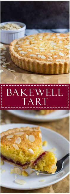 Bakewell Tart- A sweet shortcrust pastry filled with raspberry jam, almond flavoured sponge, and topped with flaked almonds!