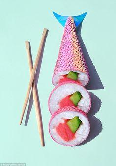Would you eat this mermaid sushi? Confused… Paul Fuentes, a graphic designer, created this mermaid sushi Conceptual Art, Surreal Art, Creative Photography, Art Photography, Surrealism Photography, Paul Fuentes, Sushi, Illustration, Grafik Design