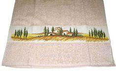 Полотенце с вышивкой Поля Тосканы. Вышивка крестом по ленте - канве. Вышивка крест, прикладная вышивка.