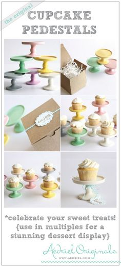 Cupcake Pedestal by Aedriel Originals- Ceramic Kiln-Fired  and Packaged for Gift Giving or Favors. $15.99, via Etsy.