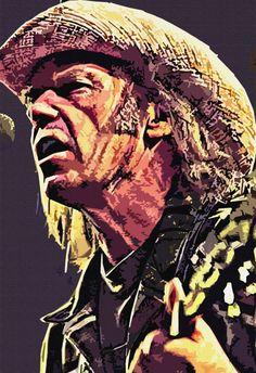 Neil Young Folk Songwriter Guitar Picker  Original by StoneyPrints, $16.80