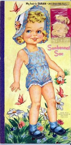 Sunbonnet Sue Paper Doll. ..... This website has all kinds of paper dolls for you as free printable downloads.  (and good site for research)
