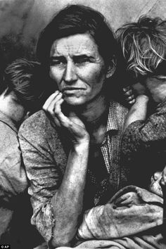 The photograph has become one of the enduring images of the dust bowl era, symbolizing, if not defining, an entire era in U.S. history. Thompson, known as the Mona Lisa of the 1930s, was 27-years-old when the Depression began. She had five children, was pregnant with another and her husband had just died when this photograph was taken.