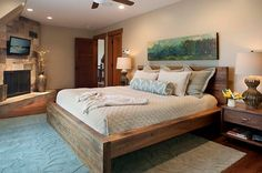 Modern Rustic Bed Frame Ideas : Wonderful Rustic Bed Frame Wooden Style Unique Fur Rug Ornament And White Blue Bed Cover